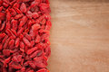 Goji berries on wooden background Royalty Free Stock Images