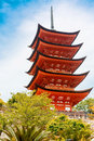 Goju-no-to pagoda of Itsukushima Shrine on Miyajima, Japan Royalty Free Stock Photo
