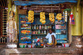 Gokarna india indian man sells different stuff in the flea market shop Royalty Free Stock Image