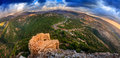 Golan heights fisheye view of northern from castle nimrod israel Royalty Free Stock Image
