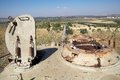 Golan landscape from the old tank with the cannon in direction of the syrian territory israel Royalty Free Stock Photos