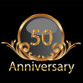 Gold 50th anniversary Royalty Free Stock Photo