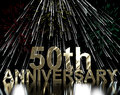 Gold 50th Anniversary With Fireworks Royalty Free Stock Photos