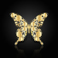 Gold abstract butterfly on black background Royalty Free Stock Photo