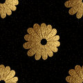 Gold abstract flowers pattern. Hand painted floral seamless background.