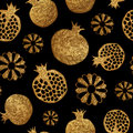 Gold abstract pomegranate and flowers pattern. Hand painted seamless background.