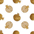 Gold abstract pomegranate pattern. Hand painted seamless background. Summer fruit illustration.