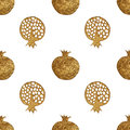 Gold abstract pomegranate pattern. Hand paintied seamless background. Summer fruit illustration.