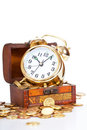 Gold alarm clock Royalty Free Stock Image