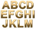 Gold Alphabet Letters Uppercase A - M On White Royalty Free Stock Image