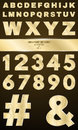Gold alphabet for shows and presentations. Gold numbers and letters with a pattern. Metallic symbols