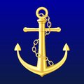 Gold Anchor on blue background Stock Photography