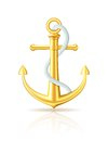 Gold anchor with rope on white background. Royalty Free Stock Photo