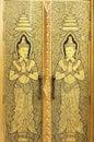Gold angel door of wattraimitr temple Royalty Free Stock Photography