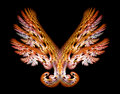 Gold Angel Wings Emblem over Black Royalty Free Stock Photo