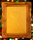 Gold antique frame, abstract bokeh background Royalty Free Stock Photography