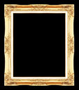 Gold antique picture frames. Isolated on black Royalty Free Stock Photo
