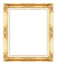 Gold antique picture frames. Isolated on white Royalty Free Stock Photo