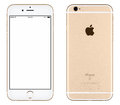 Gold Apple iPhone 6s mockup front view and back side Royalty Free Stock Photo