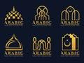 Gold Arabic doors and mosque architecture art logo vector set design