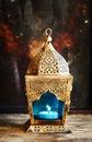 Gold arabic lantern on dark background Royalty Free Stock Photos