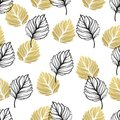Gold autumn floral background. Glitter textured seamless pattern with fall golden and black leaf. Vector illustration Royalty Free Stock Photo