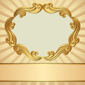 Gold background with decorative frame Royalty Free Stock Photos