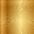 Gold background with floral decoration vector Stock Photography