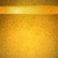 Gold background with gold ribbon and trim header Royalty Free Stock Photo
