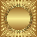 Gold background with round frame Royalty Free Stock Images