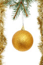 Gold ball and tinsel Stock Photo