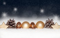 Gold balls, baubles on blue Christmas background Royalty Free Stock Photo