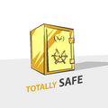 Gold bank safe vector illustration in cartoon style, three-quarter view