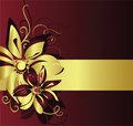 Gold banner with flowers Stock Photography