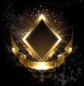 Gold banner rhombus Royalty Free Stock Photo