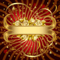 Gold banner with roses Royalty Free Stock Image