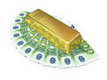 Gold bar and hundred euro money d render on white clipping path Royalty Free Stock Photos
