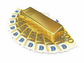 Gold bar and two hundred euro money d render on white clipping path Stock Photo