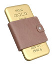 Gold bar in the wallet Royalty Free Stock Image