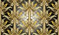 Gold Baroque floral 3d seamless pattern. Vector textured lattice
