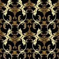 Gold Baroque seamless pattern. Vector floral black background wa Royalty Free Stock Photo