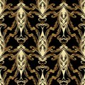 Gold Baroque vector seamless pattern. Antique floral background Royalty Free Stock Photo