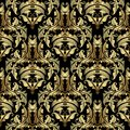 Gold Baroque vector seamless pattern. Ornate antique damask back Royalty Free Stock Photo