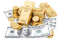 Gold bars coins and paper money on white Stock Photography