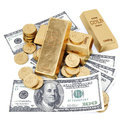 Gold bars coins and paper money on white Royalty Free Stock Photography