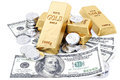Gold bars coins and paper money on white Royalty Free Stock Photos