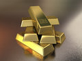 Gold bars d render stacking depth of field Stock Photos