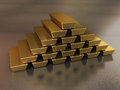 Gold bars d render stacking depth of field Stock Photography
