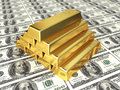 Gold bars on dollar d render depth of field Royalty Free Stock Photography