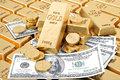 Gold bars gold coins and paper money Royalty Free Stock Photography